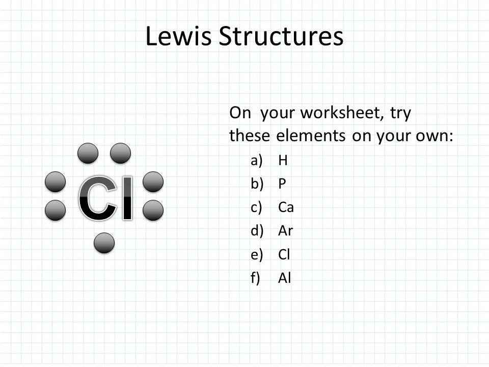 Cl Lewis Structures On your worksheet, try these elements on your own: