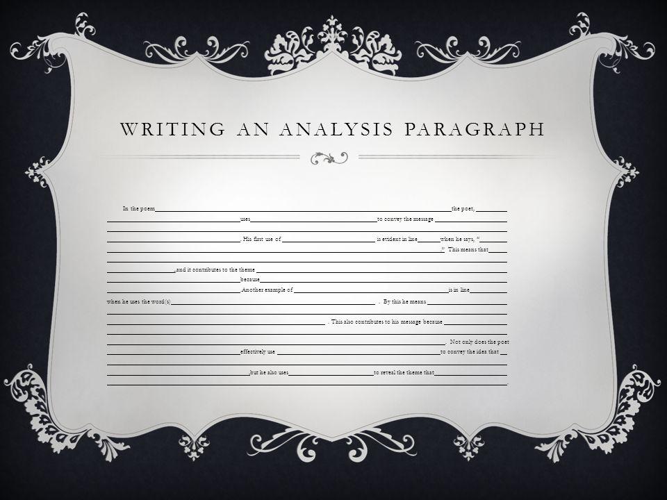 Writing an analysis paragraph
