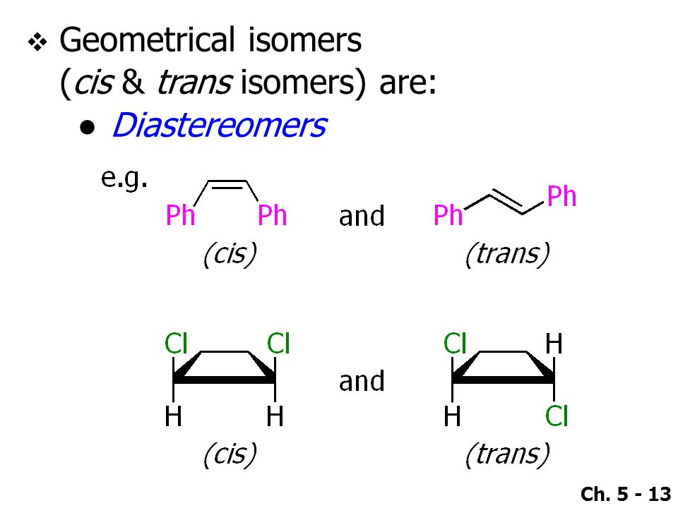 Geometrical isomers (cis & trans isomers) are: Diastereomers