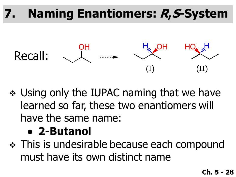 Naming Enantiomers: R,S-System