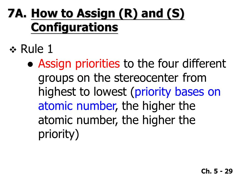 7A. How to Assign (R) and (S) Configurations
