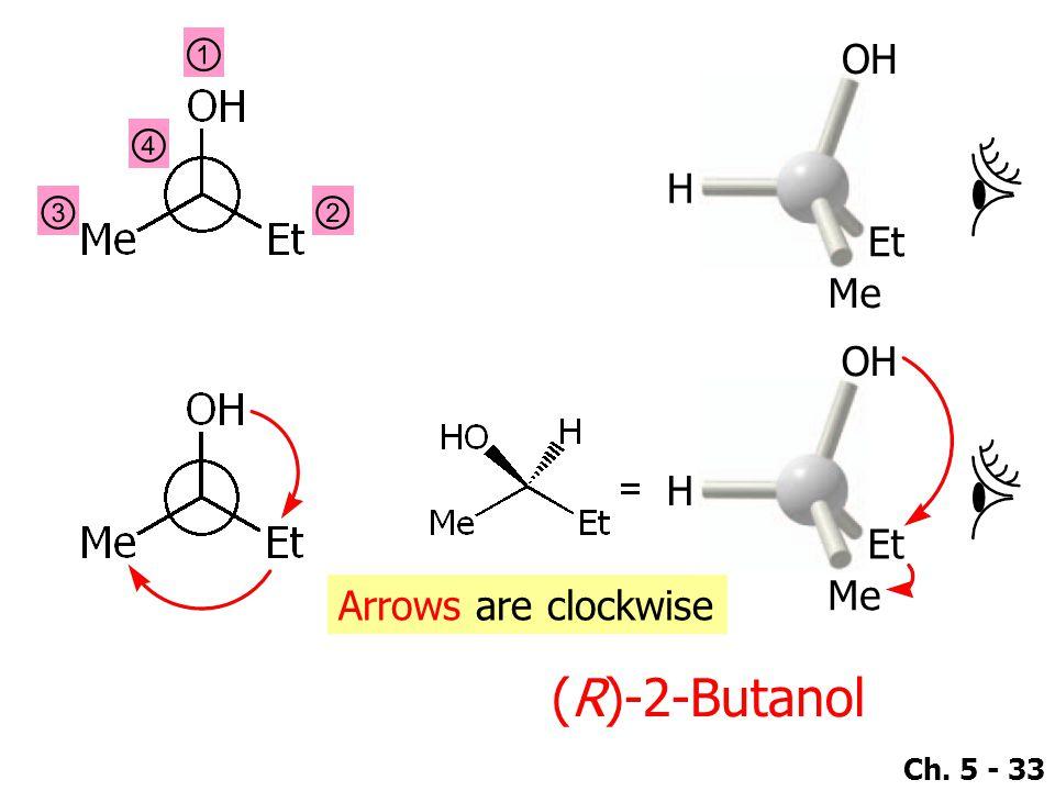 ① OH Et Me H ④ ③ ② OH Et Me H Arrows are clockwise (R)-2-Butanol