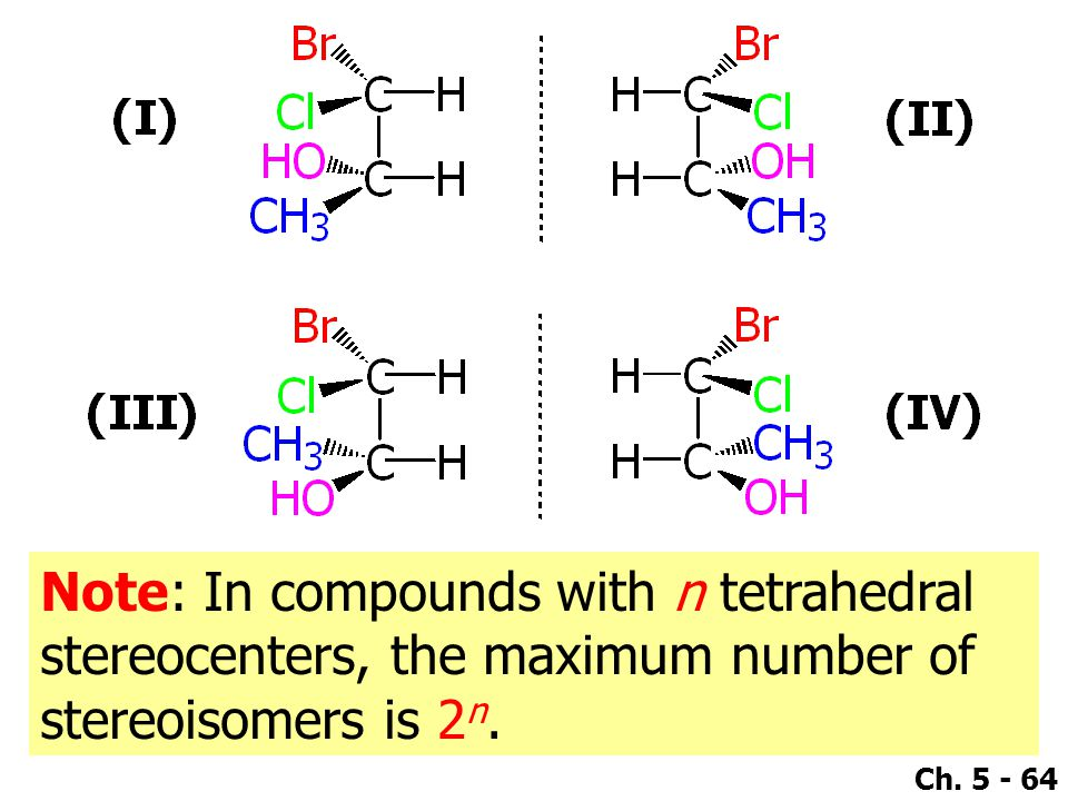 Note: In compounds with n tetrahedral stereocenters, the maximum number of stereoisomers is 2n.