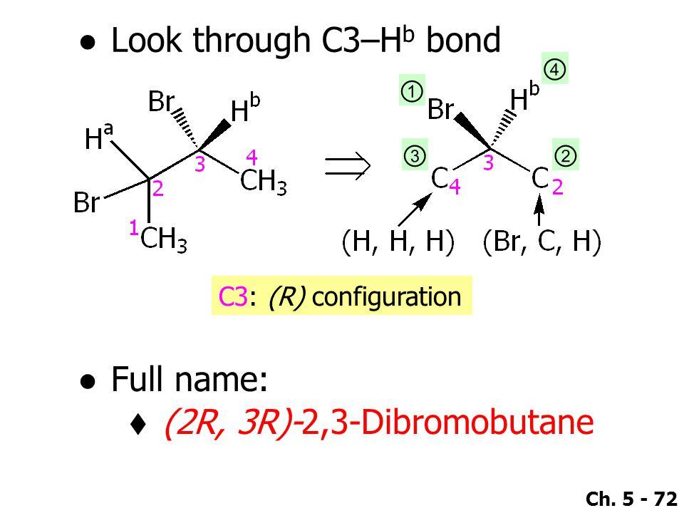 Look through C3–Hb bond Full name: (2R, 3R)-2,3-Dibromobutane ④ ① ③ ②