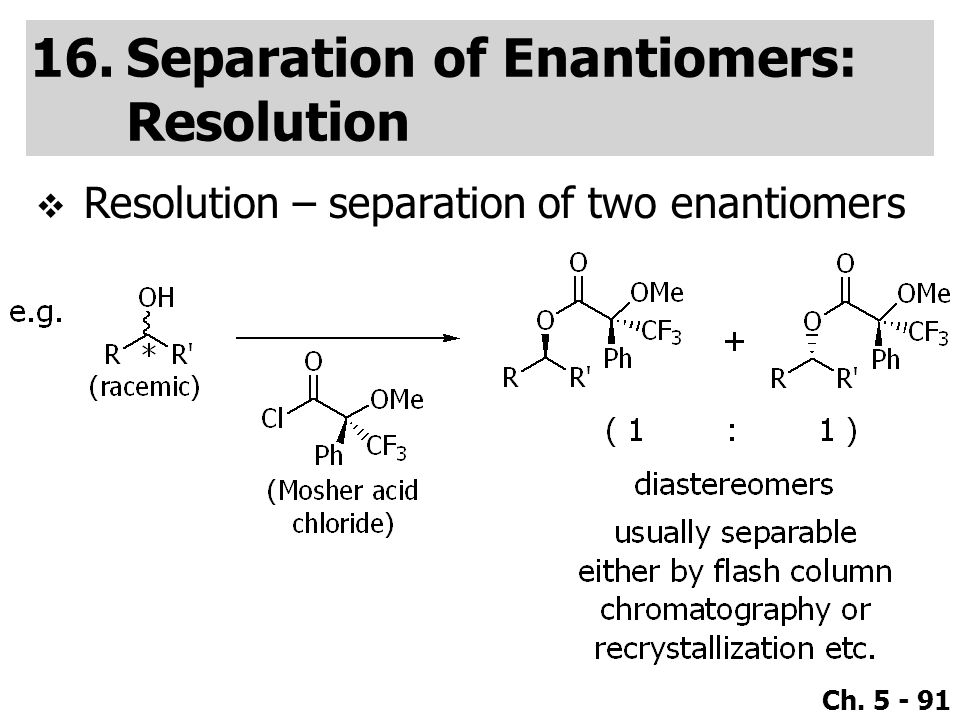 Separation of Enantiomers: Resolution