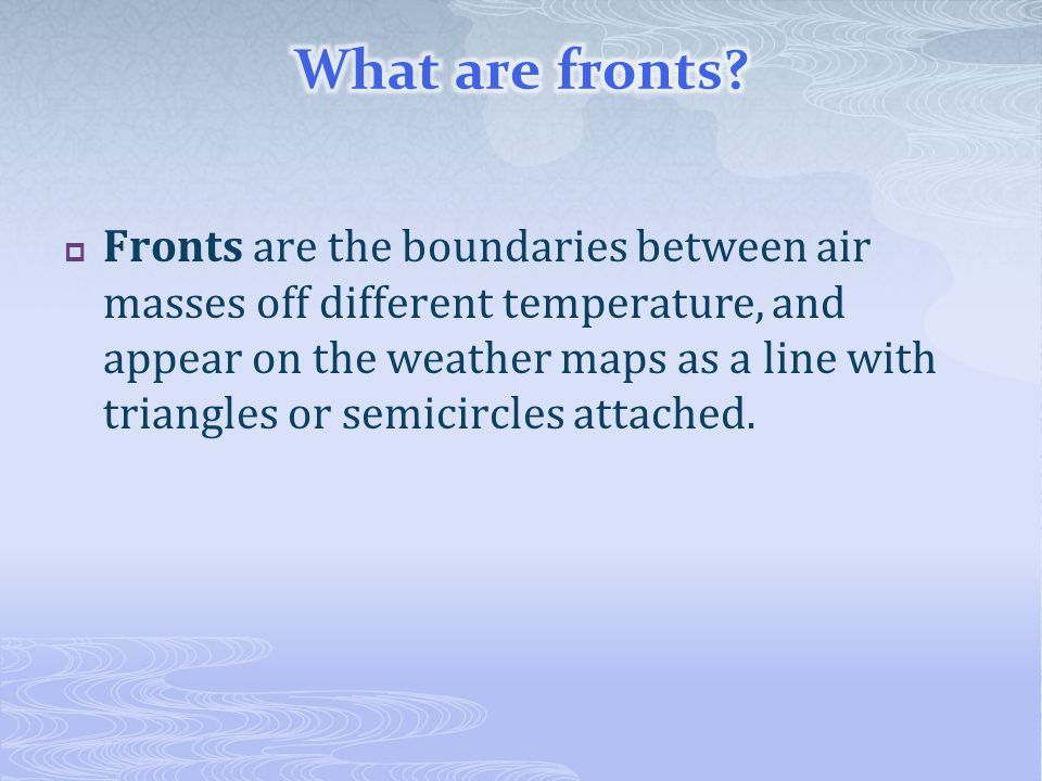 What are fronts