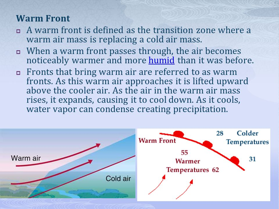Warm Front A warm front is defined as the transition zone where a warm air mass is replacing a cold air mass.