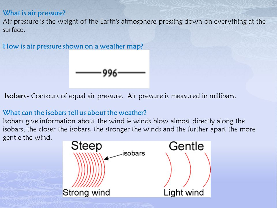 How is air pressure shown on a weather map