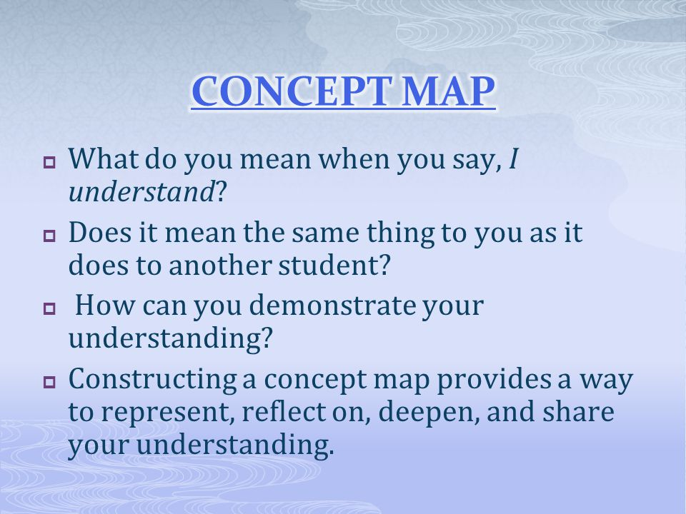 CONCEPT MAP What do you mean when you say, I understand