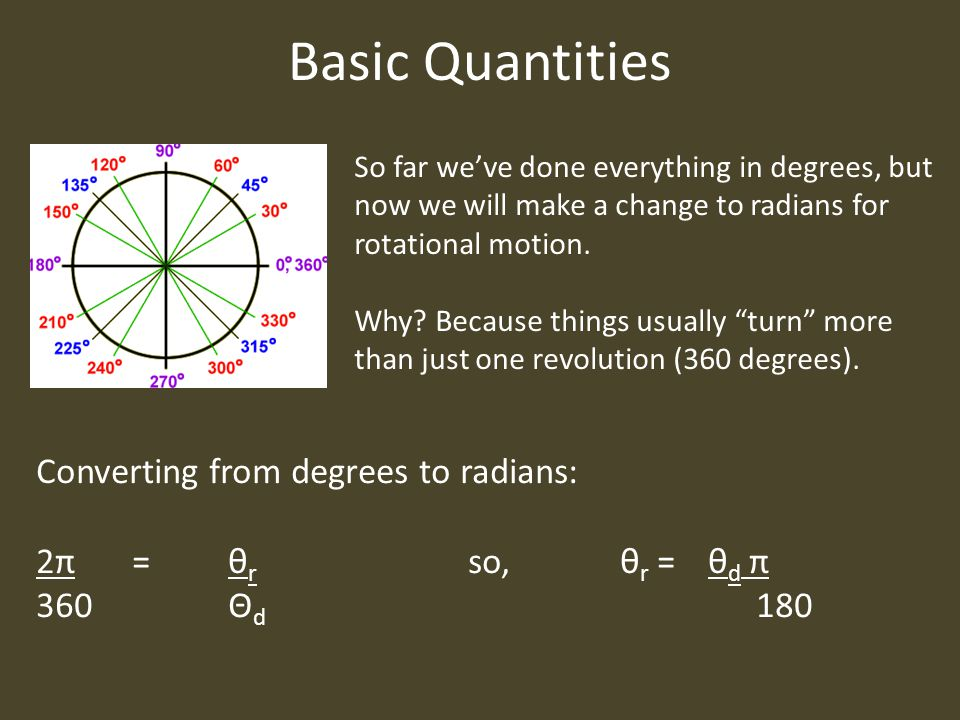 Basic Quantities Converting from degrees to radians: