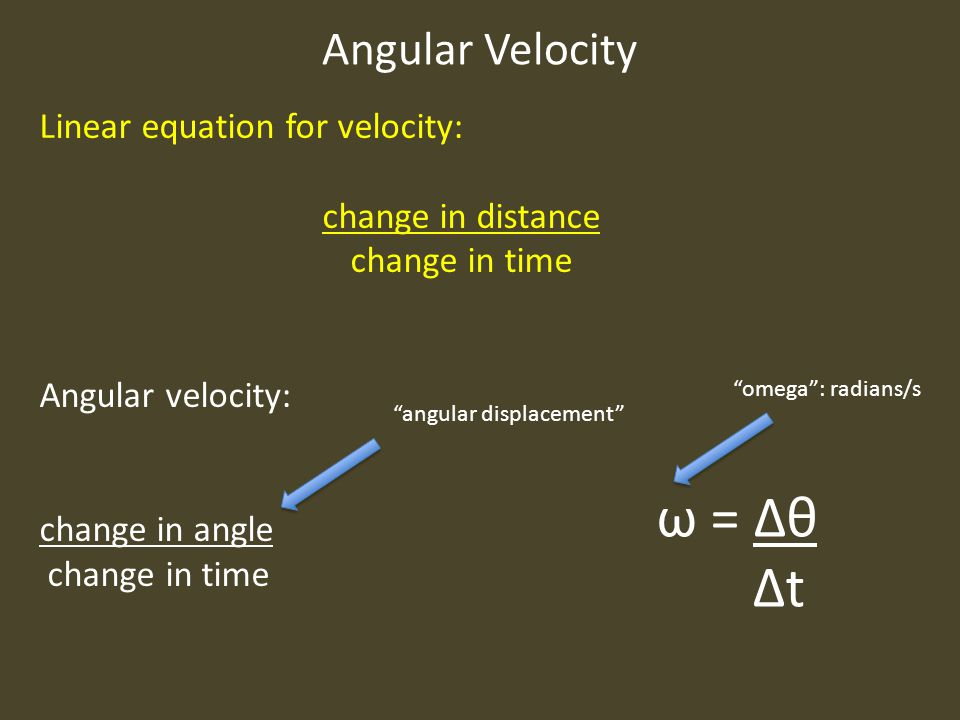 ω = Δθ Δt Angular Velocity Linear equation for velocity: