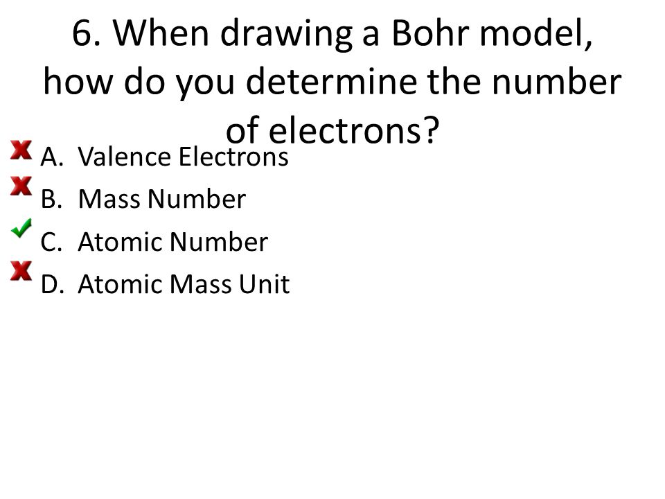6. When drawing a Bohr model, how do you determine the number of electrons