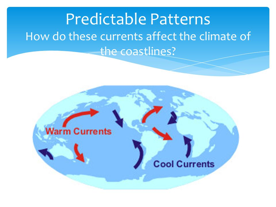 Predictable Patterns How do these currents affect the climate of the coastlines