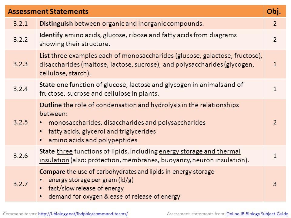 Assessment Statements Obj.