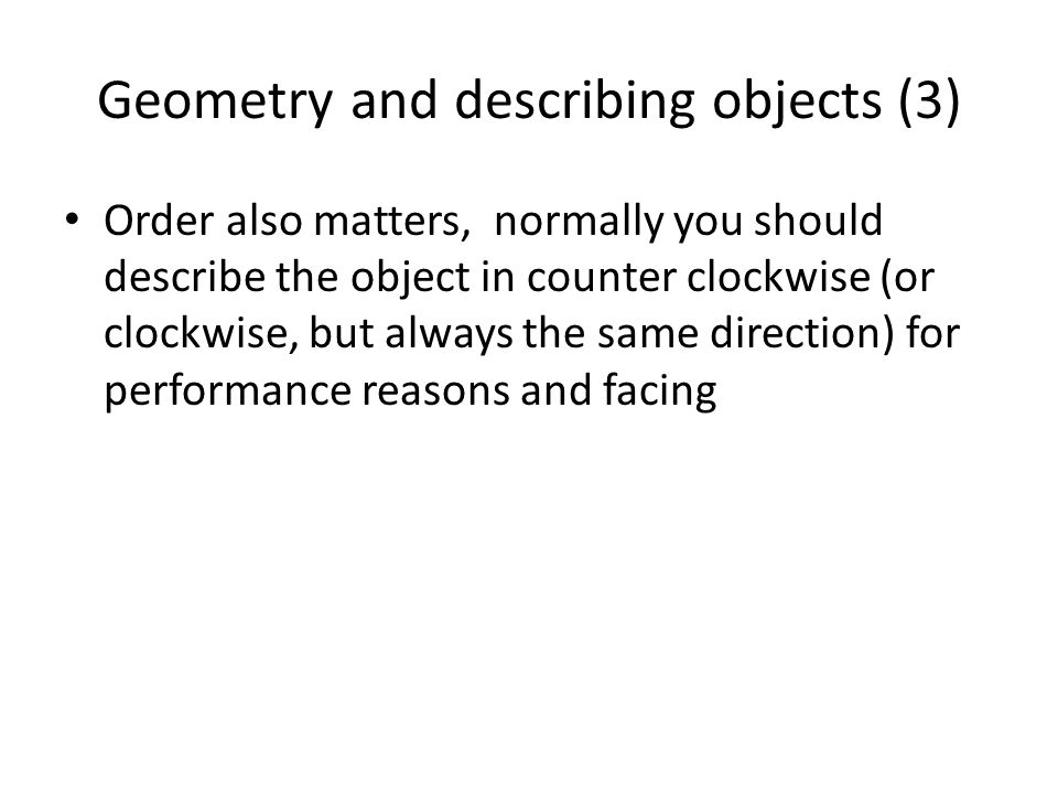 Geometry and describing objects (3)