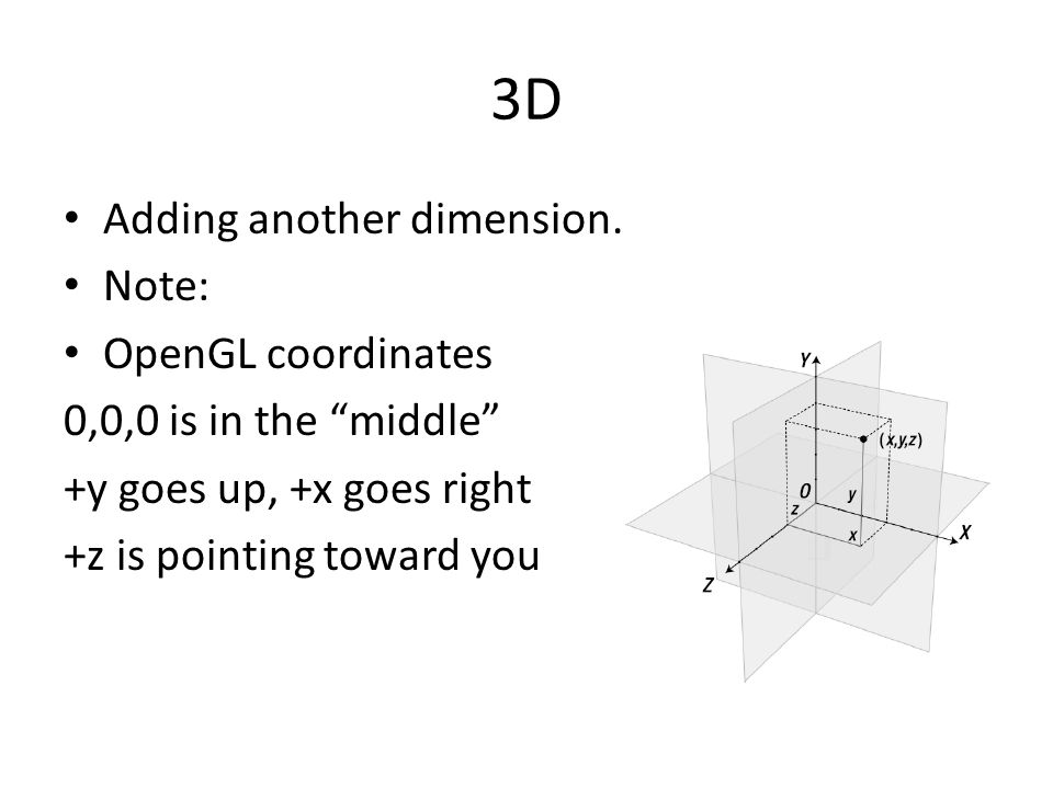 3D Adding another dimension. Note: OpenGL coordinates