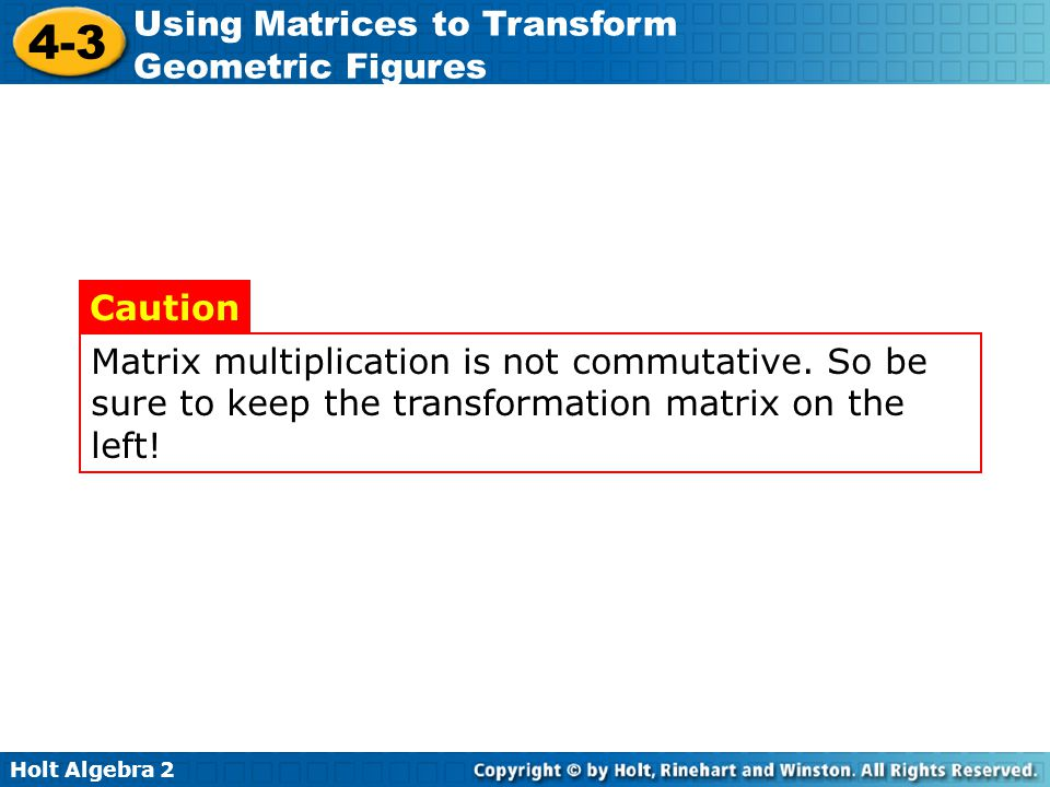 Matrix multiplication is not commutative