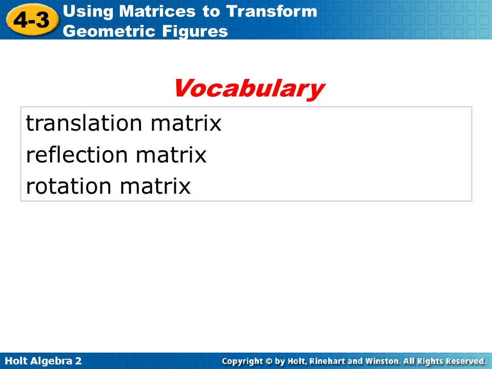 Vocabulary translation matrix reflection matrix rotation matrix