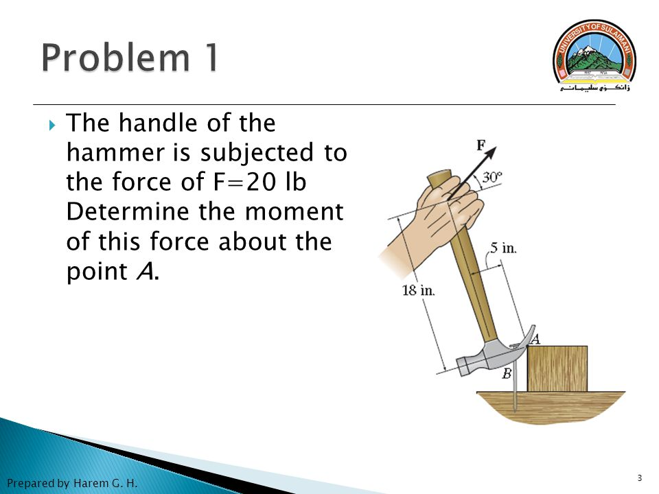 Problem 1 The handle of the hammer is subjected to the force of F=20 lb Determine the moment of this force about the point A.