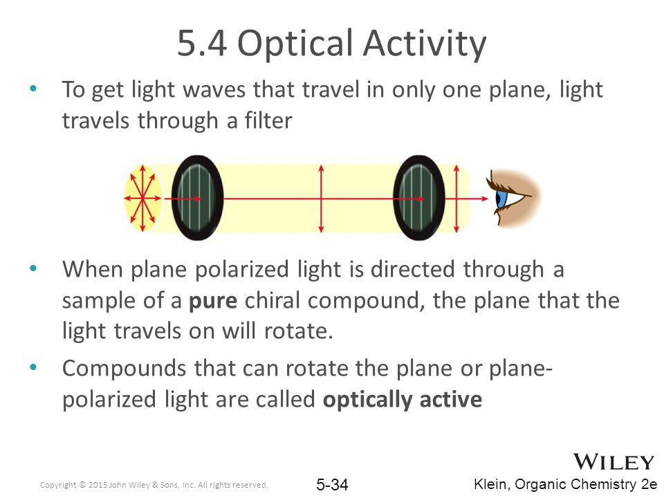 5.4 Optical Activity To get light waves that travel in only one plane, light travels through a filter.
