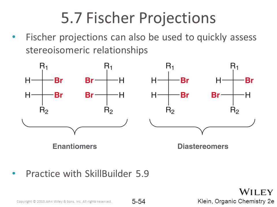 5.7 Fischer Projections Fischer projections can also be used to quickly assess stereoisomeric relationships.