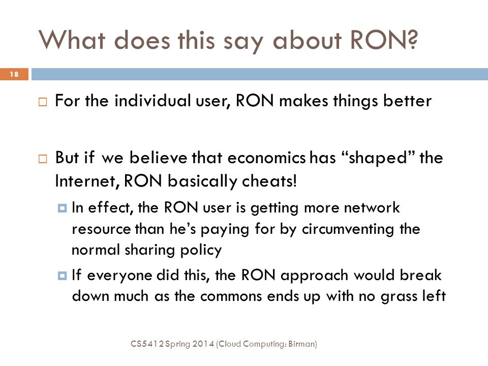 What does this say about RON