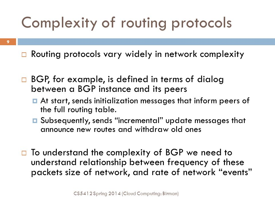 Complexity of routing protocols