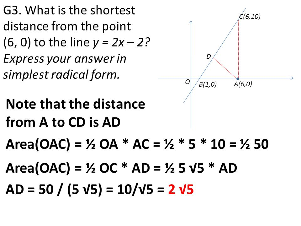 Note that the distance from A to CD is AD