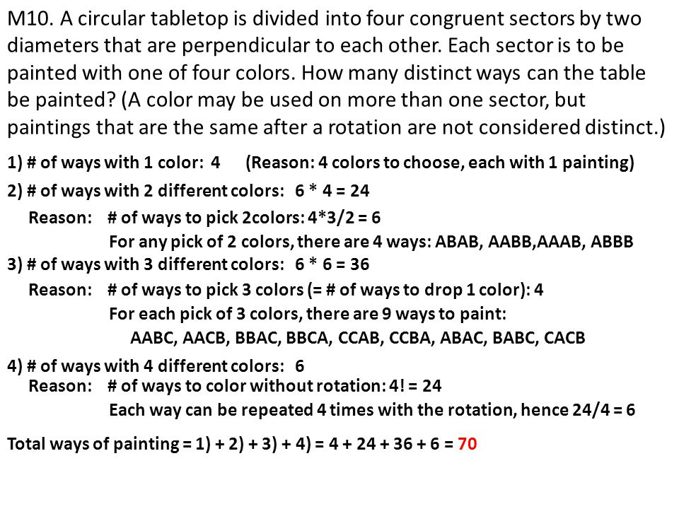 M10. A circular tabletop is divided into four congruent sectors by two diameters that are perpendicular to each other. Each sector is to be painted with one of four colors. How many distinct ways can the table be painted (A color may be used on more than one sector, but paintings that are the same after a rotation are not considered distinct.)