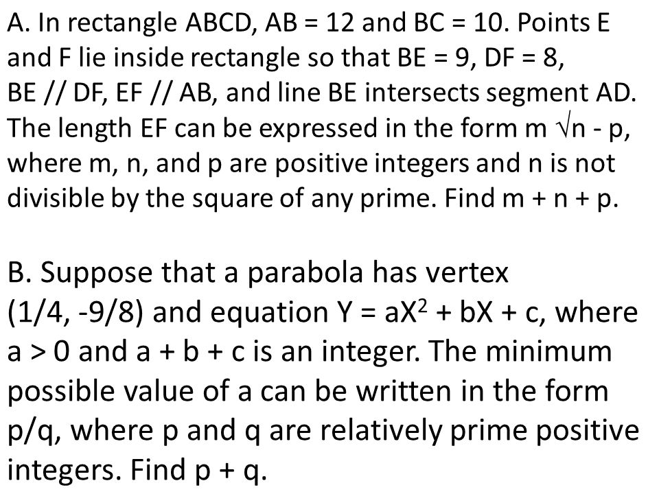 A. In rectangle ABCD, AB = 12 and BC = 10