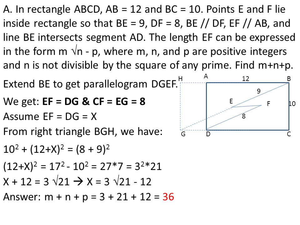 Extend BE to get parallelogram DGEF.