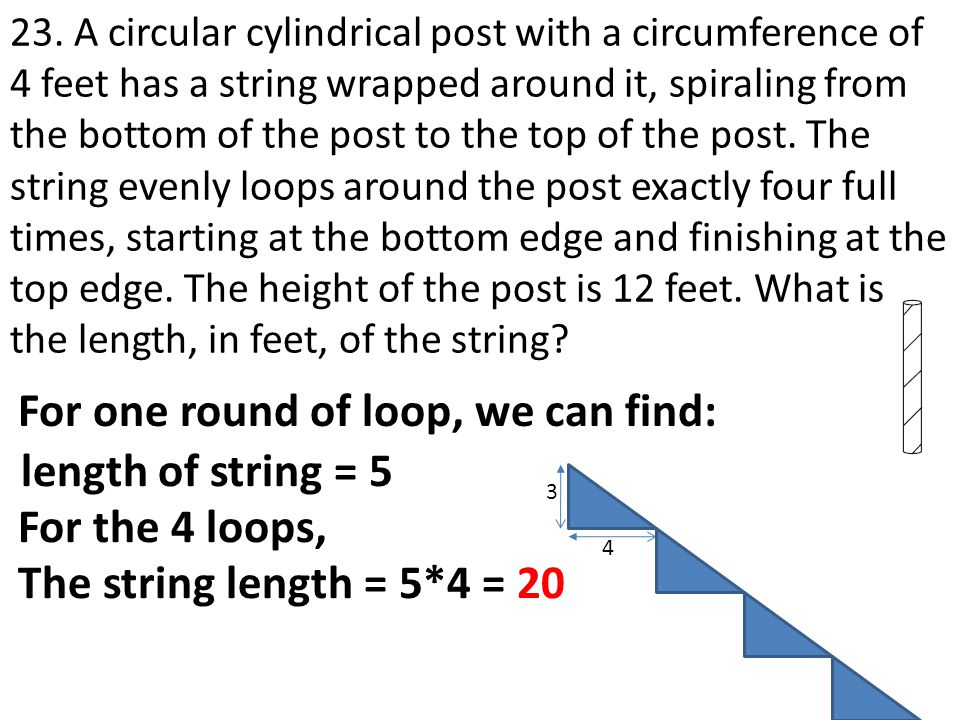 For one round of loop, we can find: length of string = 5