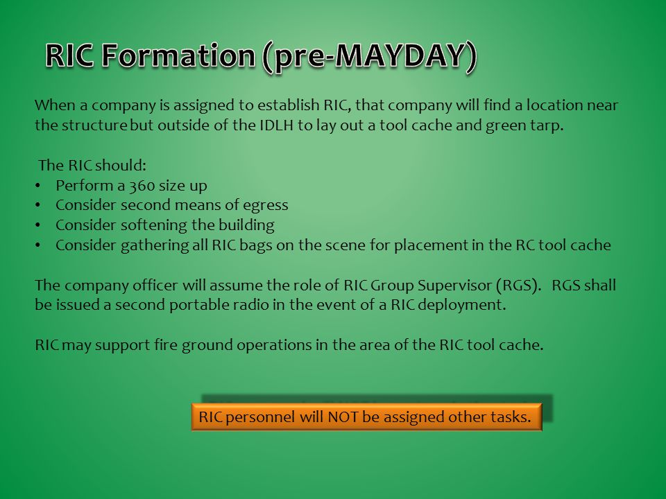 RIC Formation (pre-MAYDAY)