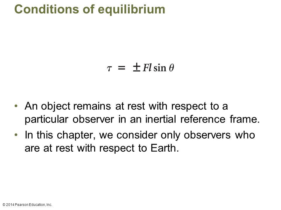 Conditions of equilibrium