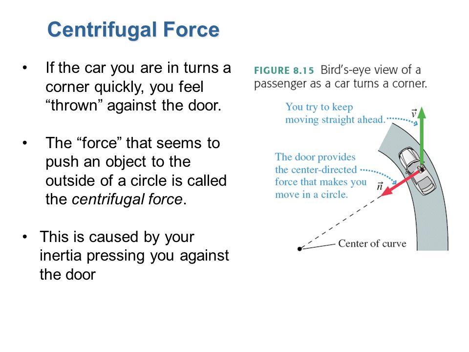 Centrifugal Force If the car you are in turns a corner quickly, you feel thrown against the door.