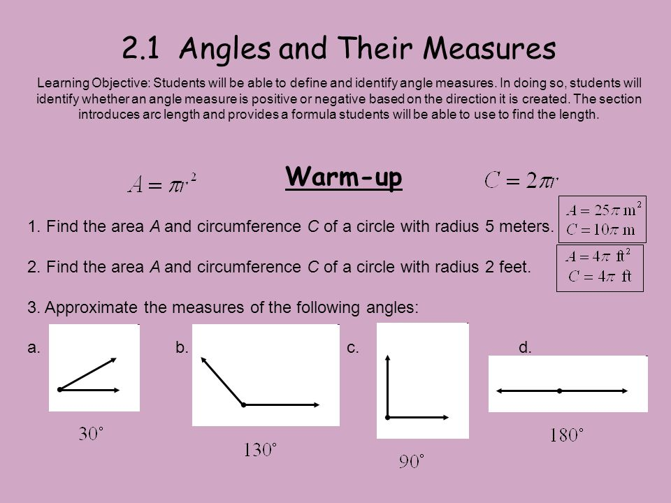2.1 Angles and Their Measures