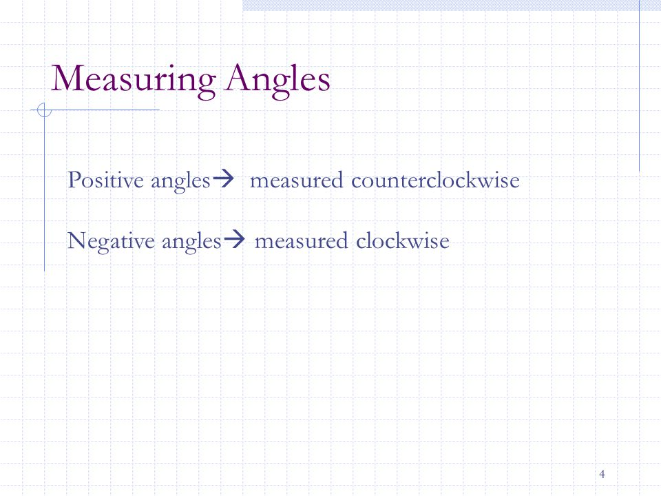 Measuring Angles Positive angles measured counterclockwise