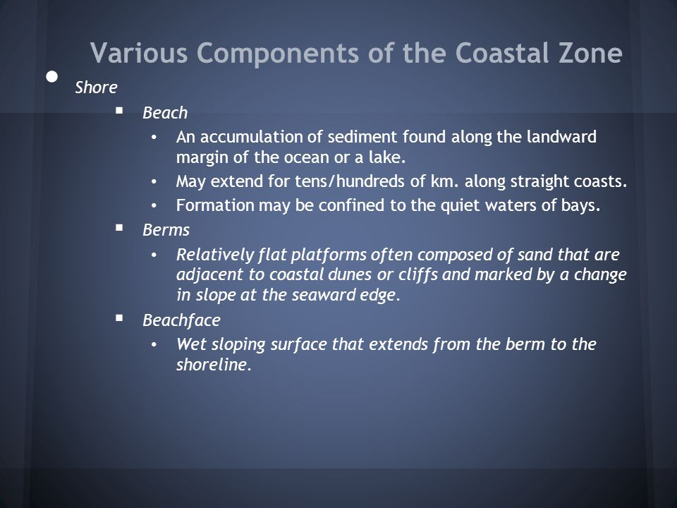Various Components of the Coastal Zone