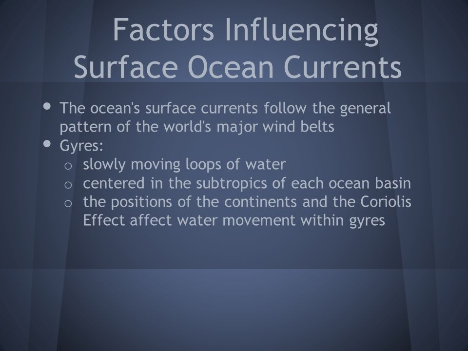 Factors Influencing Surface Ocean Currents