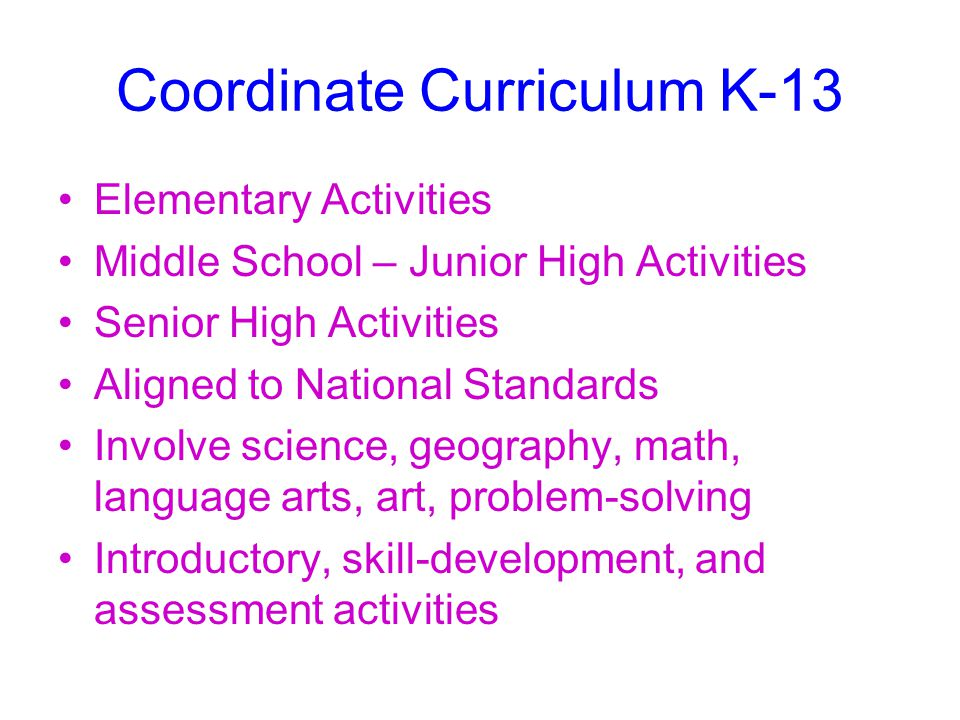 Coordinate Curriculum K-13