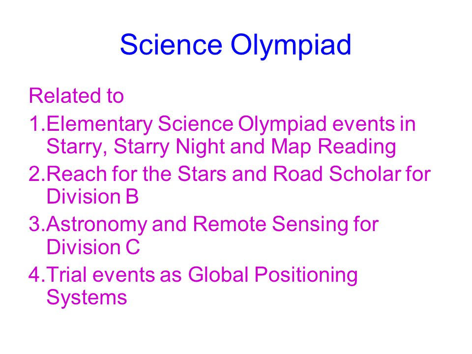 Science Olympiad Related to