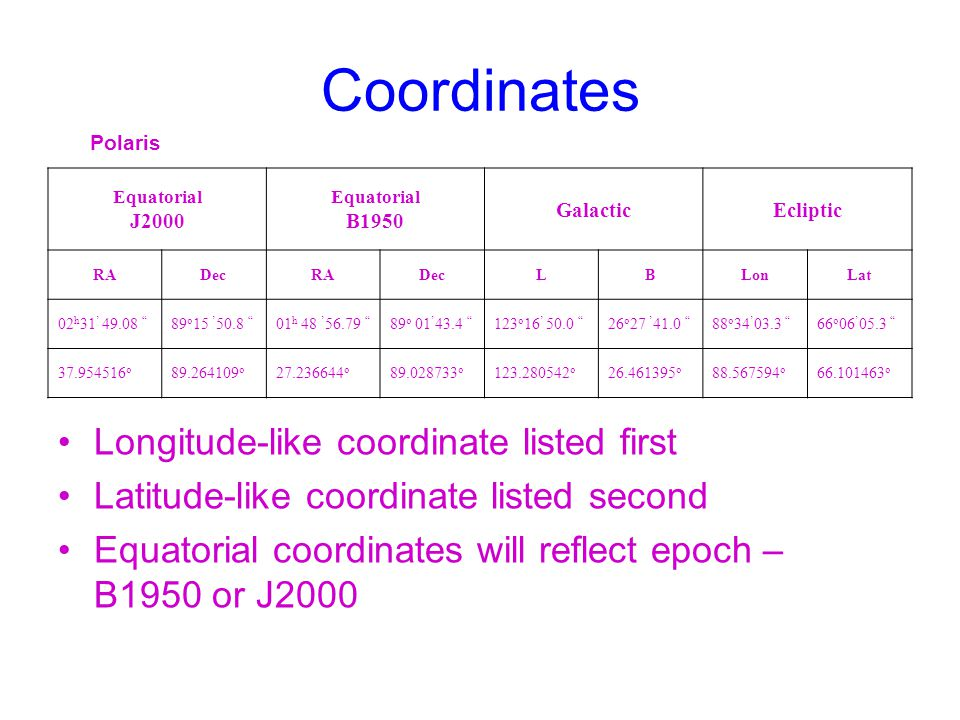 Coordinates Longitude-like coordinate listed first
