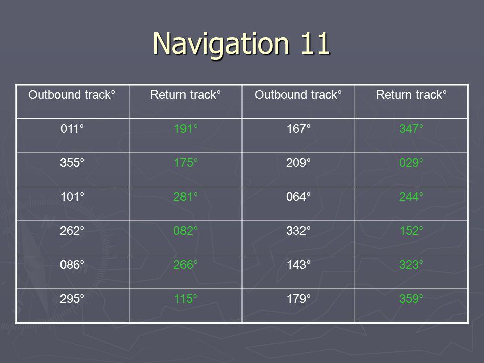 Navigation 11 Outbound track° Return track° 011° 191° 167° 347° 355°