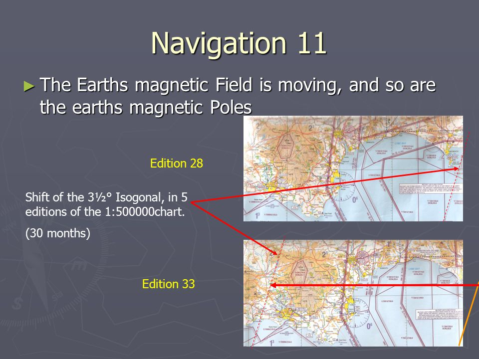 Navigation 11 The Earths magnetic Field is moving, and so are the earths magnetic Poles. Edition 28.