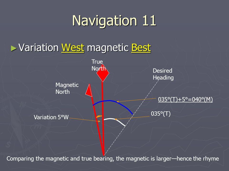 Navigation 11 Variation West magnetic Best True North Desired Heading