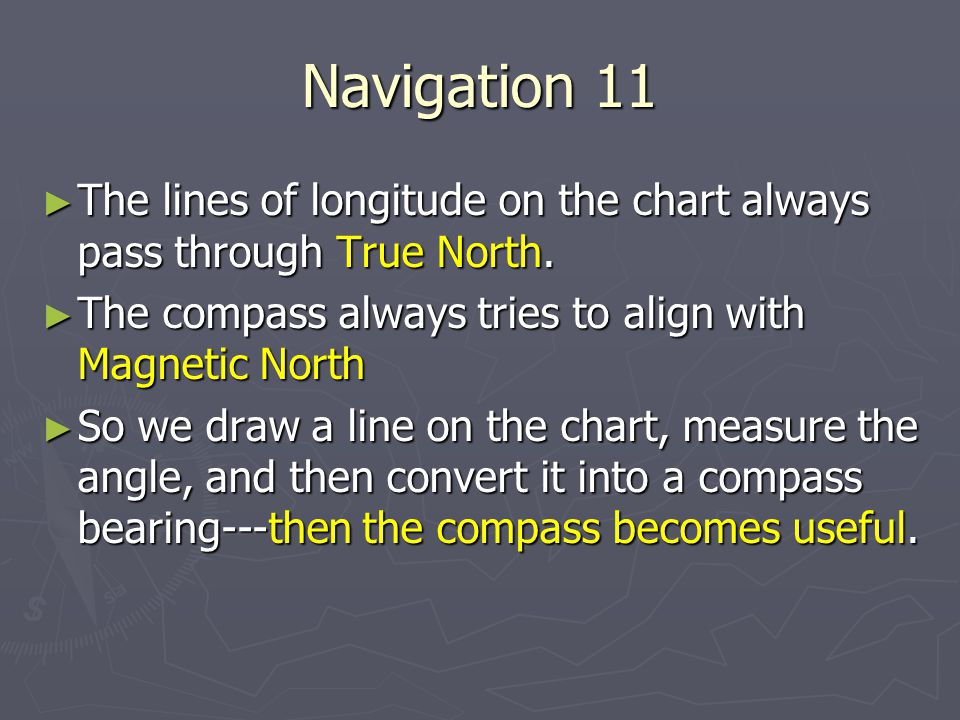 Navigation 11 The lines of longitude on the chart always pass through True North. The compass always tries to align with Magnetic North.