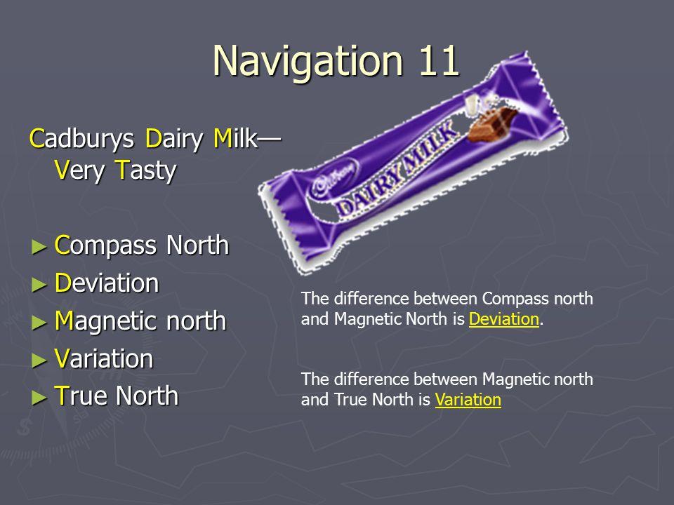 Navigation 11 Cadburys Dairy Milk—Very Tasty Compass North Deviation