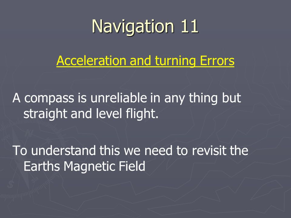 Acceleration and turning Errors