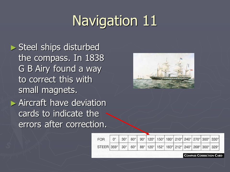 Navigation 11 Steel ships disturbed the compass. In 1838 G B Airy found a way to correct this with small magnets.