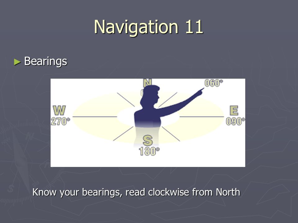 Navigation 11 Bearings Know your bearings, read clockwise from North